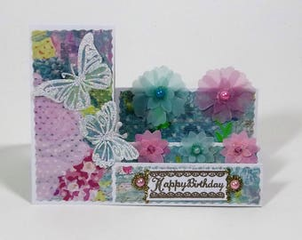 Pink and Blue Floral Happy Birthday Card