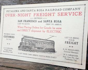 Vintage 1924 Petaluma and Santa Rosa Railroad Company Advertising Card
