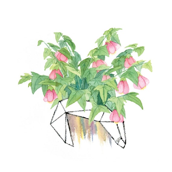 Hot pink flowers watercolor painting modern geometric etsy image 0 mightylinksfo