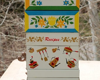 Vintage Metal Recipe Boxes
