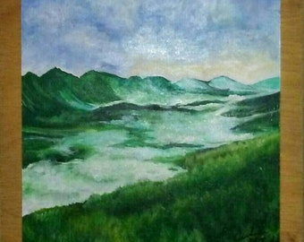 Mountain landscape painting in Acrylic, unframed