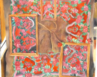 40in x 40in Large Original Red and Pink Rose Oil Painting on Stretched Canvas, Realistic Flower Painting