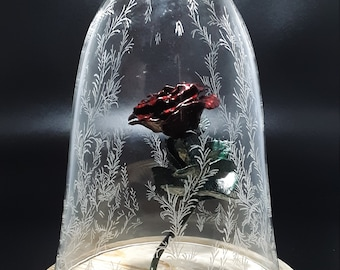 The Enchanted Rose, copper metal rose, Beauty and the Beast miniature replica, glass bell dome wood base