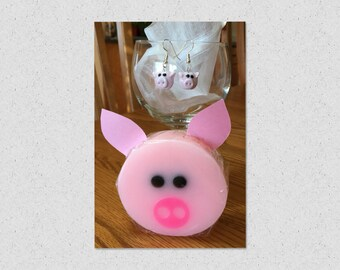 Pig easter gifts etsy hog wash soap with pig earrings easter gift set teacher gift negle Image collections