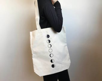 SALE Moon Phase Tote Bag - Heavy Cotton Canvas