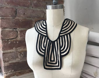 Victorian Stripe Gothic Neck Trim/Bib style Black and Neutral/white