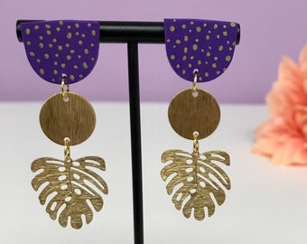 Purple Polymer Clay Brass Hand Painted Palm Monstera Tropical Leaf Earring | Clay Earring | Statement Earring | Gift for her |