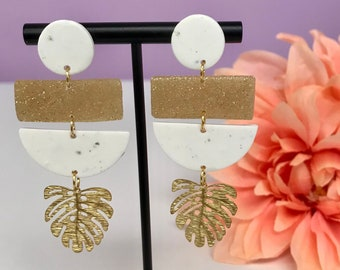 Speckled White Gold Glitter Monstera Leaf Tropical Dangle Geometric Polymer Clay Earring | Clay Earring | Statement Earring | Gift for her |