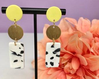 Polymer Clay Earring | Light Yellow Black and White Dalmatian Raw Brass Drop Earrings | Clay Earring | Statement Earring | Gift for her