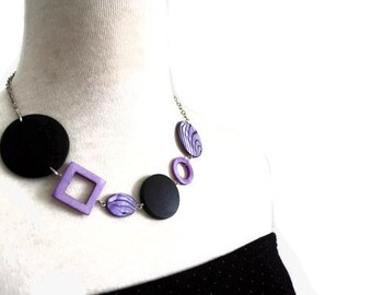 Purple Necklace - Chunky Wood Necklace with Zebra Print Shell Beads and Black Wood Beads