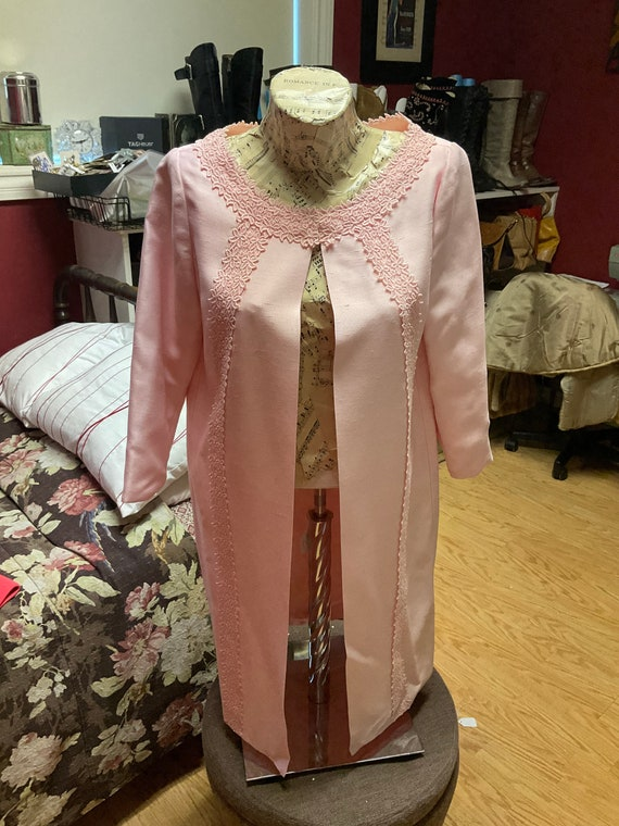 60s Pink Linen Duster - image 1