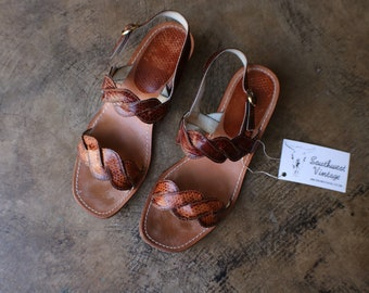 1bade85ab8 Size 7 1/2 / Woven Sandals / Brown Leather Wedges / Vintage Leather Low Heel  Sling Back / Women's