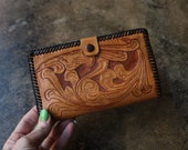 Tooled Leather Wallet 60 39 s Western Coin Purse Vintage Floral Leather Accessory
