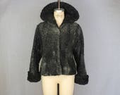 Curly Lamb Jacket 1950 39 s Black Fur Coat Vintage Women 39 s Persian Lamb Outerwear