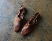 Size 8 1 2 M Brown Woven Leather Slingbacks 90 39 s Shoes Women 39 s Vintage Slip On Shoes