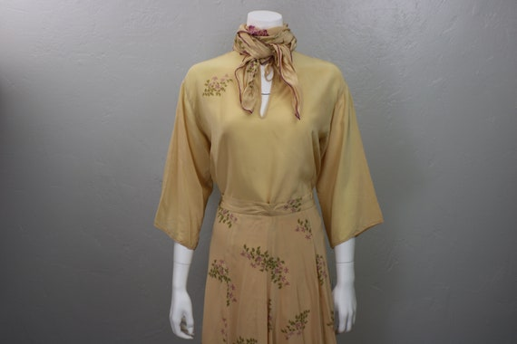 Silk Set / 70's Three Piece Skirt Blouse and Scarf
