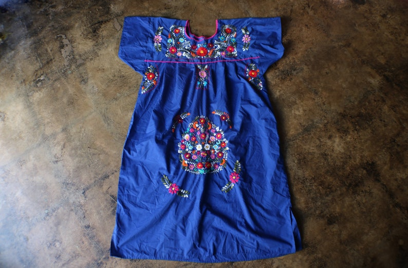Vintage Embroidered DRESS  Bright Blue Shift Dress  Floral Embroidered  Dress  Long Summer Dress  Large to Extra Large