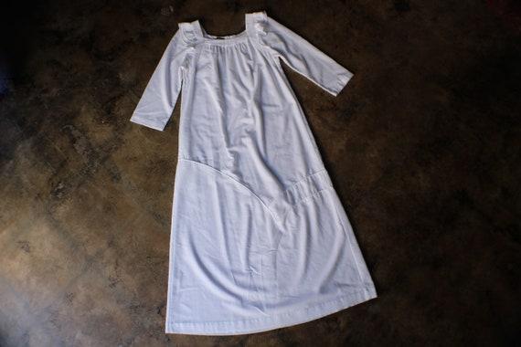 1970's White Nubby Cotton Dress /  Ruffle Shoulder