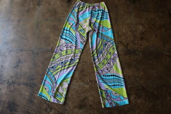 1970's Patterned pants / Vintage  High Waist Jers… - image 5