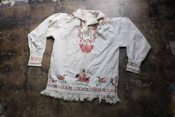 1930's Embroidered Tunic / Antique Eastern Europea