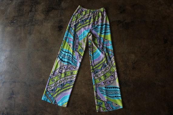 1970's Patterned pants / Vintage  High Waist Jers… - image 1