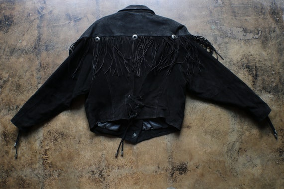 Black Leather Southwest Jacket / Vintage Fringed … - image 8