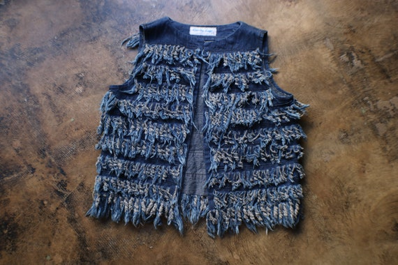 Fringed Denim Vest / Vintage Frayed Denim Vest / F