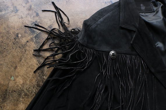 Black Leather Southwest Jacket / Vintage Fringed … - image 6
