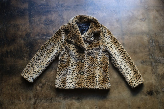 Faux Fur Leopard Coat / Women's Hip Length Fake Fu