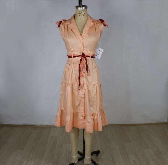 1840bfadf84 Peach Bow Dress   Vintage Pastel Summer Dress   Tiered Skirt