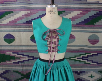 1950's Folk Two Piece / Corset Vest and Circle Skirt / Vintage Turquoise Matching Top and Skirt / Extra Small