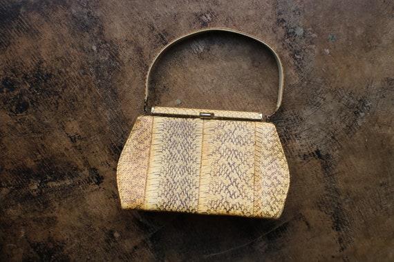 1950's Snakeskin Handbag, Structured Top Handle Pu