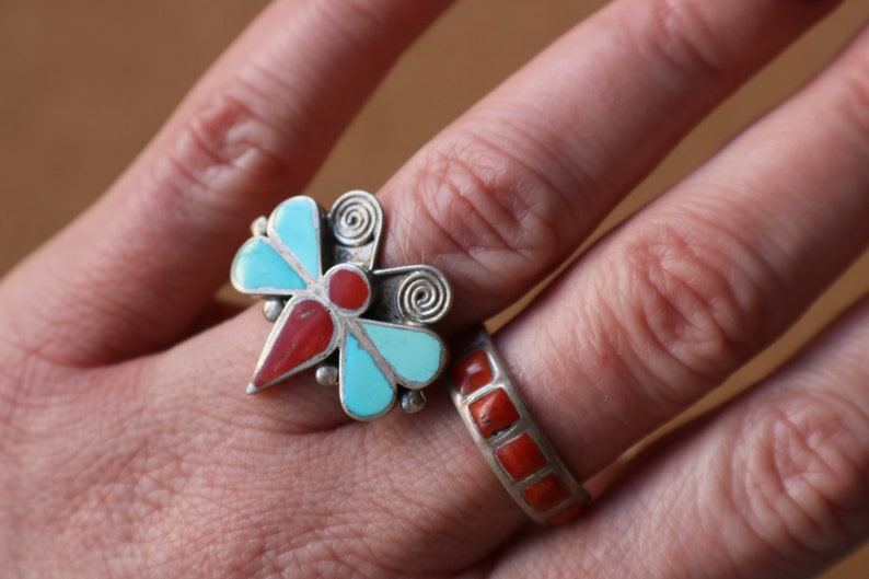 1950/'s Butterfly Ring  Sterling Turquoise and Coral Jewelry  Vintage Size 7 Aphid Ring