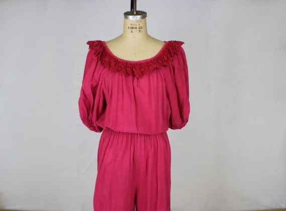 Off The Shoulder Jumpsuit / Fuchsia Romper / Harem