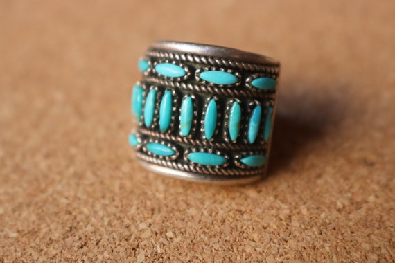 Turquoise Wide Ring / Needle Point Turquoise Ring