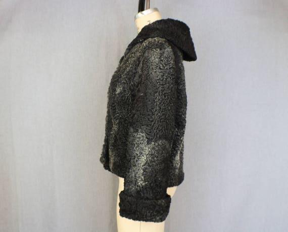 Curly Lamb Jacket / 1950's Black Fur Coat / Vintag