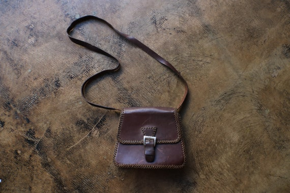 Brown Leather Purse / 70's Leather Small Leather P