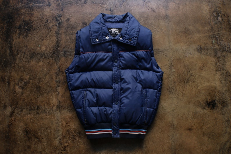 80/'s Men/'s Puffy Vest  Vintage Dark Blue Sports Vest  Men/'s Small  Women/'s Medium