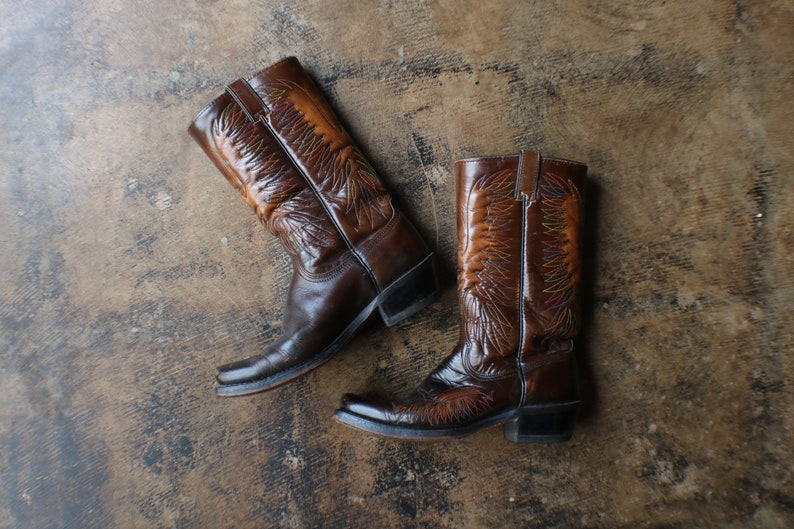 21204a9b786ef 9 D Eagle Cowboy Boots / Dark Brown Leather Western Boots / Square Toe  Boots / Women's Size 10