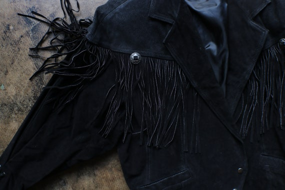 Black Leather Southwest Jacket / Vintage Fringed … - image 3