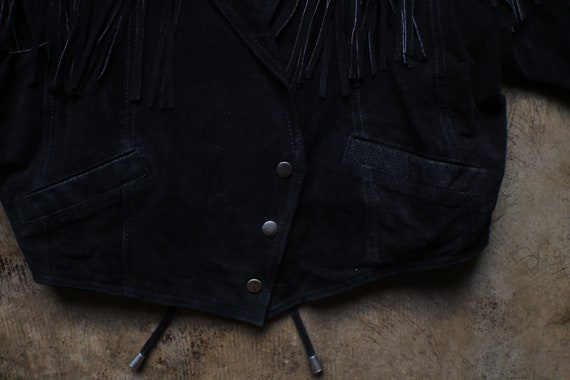 Black Leather Southwest Jacket / Vintage Fringed … - image 4