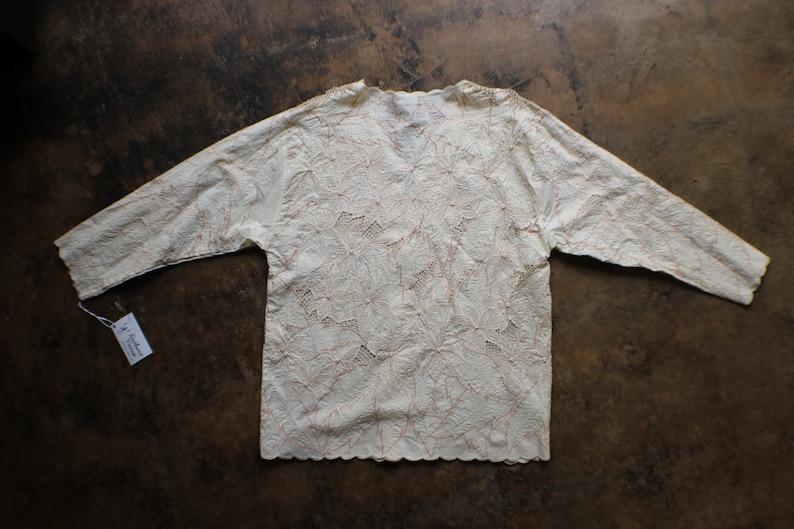 Cream Foliage Jacket  80/'s Embroidered Rayon Light Jacket  Women/'s Vintage
