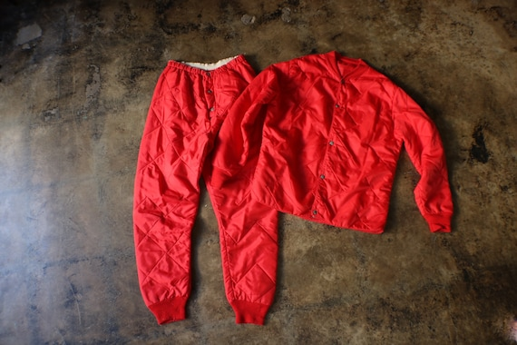 Red Nylon Quilted Two Piece / Vintage Quilted Line