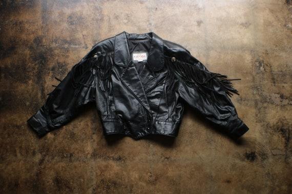 Black Leather Fringed Jacket / Vintage Motorcycle