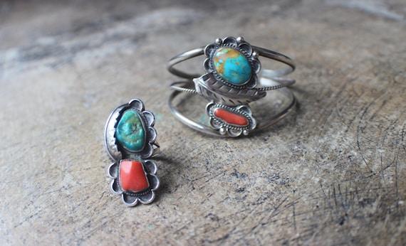 Southwestern Bracelet Ring SET / Navajo Style 1970
