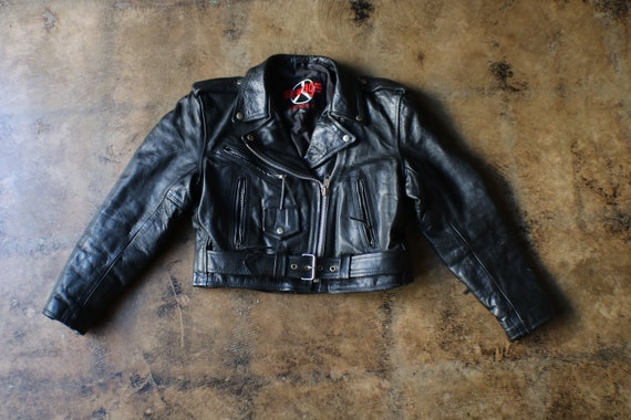 Black Leather Motorcycle Jacket / Vintage Cropped
