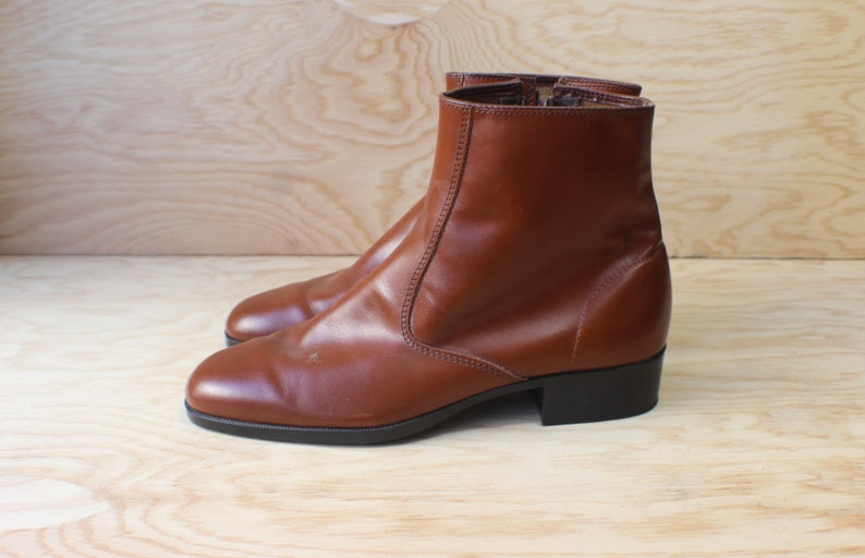 9 12 Women/'s Brown Leather Ankle BOOT  8 Men/'s Mod Boots  Vintage Shoes
