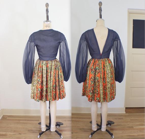 Shear Top 1960's Frock / Vintage Women's Dress / S