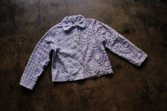 Chenille Jacket / Lavender Cotton Vintage Chenille
