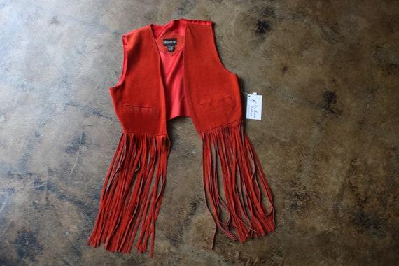 Red FRINGE Suede Vest , Vintage Long Fringe Wester